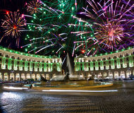 Celebratory fireworks over Republic square. Italy. Royalty Free Stock Photography