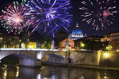 Celebratory fireworks over Sant ` Angelo Bridge. River Tiber. Rome. Italy.  stock images