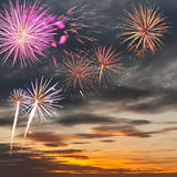 Celebratory fireworks on sky Stock Images