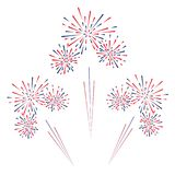 Celebratory fireworks on a white background. Vector illustration. Celebratory fireworks on a white background. Vector illustration Stock Images