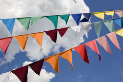 Celebratory flags. Celebratory garland from small flags Stock Photo