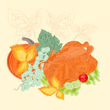 Celebratory food christmas thanksgiving vintage vector Stock Images
