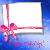 Celebratory frame with a bow Royalty Free Stock Image