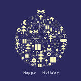 Celebratory fur-tree sphere. Celebratory sphere for an ornament of a fur-tree from symbols Stock Photos