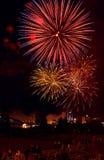 Celebratory fyrverkerier fotografering för bildbyråer