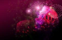 Celebratory fyrverkerier för nytt år över Colosseum, Italien Arkivbild