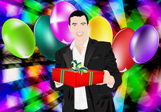 Celebratory gift. The elegant man gives a celebratory gift with a smile vector illustration