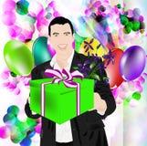 Celebratory gift. The elegant man gives a celebratory gift with a smile stock illustration