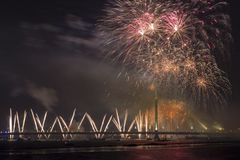Celebratory honnör i Riga Arkivbild