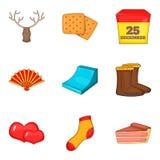 Celebratory icons set, cartoon style Stock Images