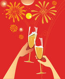 Celebratory illustration. With fireworks and champagne Stock Photography