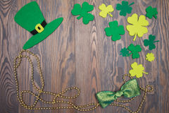 Celebratory Irish background of St. Patricks Day on wooden table Royalty Free Stock Photos
