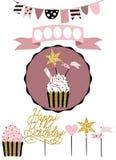 Celebratory kaka med uppsättningen av garnering, toppers, stearinljus och gummin vektor illustrationer