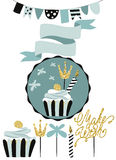 Celebratory kaka med uppsättningen av garnering, toppers, stearinljus och gummin royaltyfri illustrationer