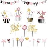 Celebratory kakor med uppsättningen av garneringar, toppers, stearinljus och stock illustrationer