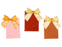 Celebratory labels. Three celebratory labels with bows Stock Image