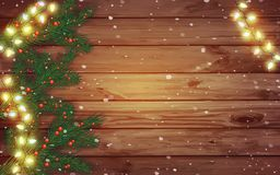 Celebratory lights and spruce branches on a wooden background. W stock illustration