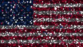 Celebratory livlig bakgrund av flaggan av Amerikas förenta stater visas från fyrverkerier stock video