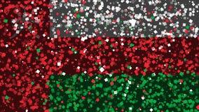 Celebratory livlig bakgrund av flaggan av Oman visas från fyrverkerier stock video