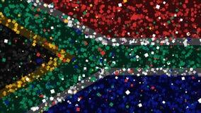 Celebratory livlig bakgrund av flaggan av Sydafrika visas från fyrverkerier stock video
