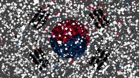 Celebratory livlig bakgrund av flaggan av Sydkorea visas från fyrverkerier stock video
