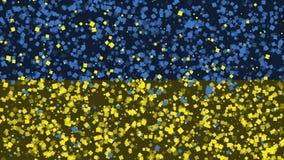 Celebratory livlig bakgrund av flaggan av Ukraina visas från fyrverkerier arkivfilmer