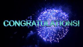 CONGRATULATIONS message with fireworks. Celebrate.