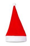 Celebratory röd isolerad Santa Claus hatt Arkivbilder