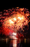 Celebratory red  firework Royalty Free Stock Photos