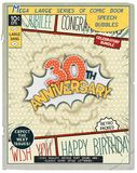 Celebratory retro comics speech bubble. 30 th anniversary. Happy birthday placard. Explosion in comic style with realistic puffs smoke Royalty Free Stock Photos
