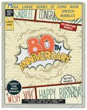 Celebratory retro comics speech bubble. 80 th anniversary. Happy birthday placard. Explosion in comic style with realistic puffs smoke Royalty Free Stock Photography