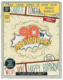 Celebratory retro comics speech bubble. 90 th anniversary. Happy birthday placard. Explosion in comic style with realistic puffs smoke Royalty Free Stock Photo