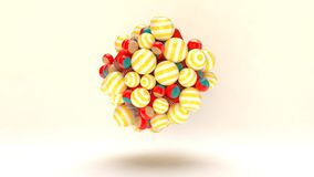 Celebratory Striped Balls Sticking Together. A jovial 3d illustration of soaring colorful striped balls for Cristmas gifts with sparkling spirals and cubes in Stock Photos