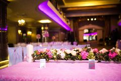 Celebratory tables in the banquet hall Stock Images