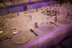 Celebratory tables in the banquet hall Royalty Free Stock Images