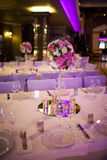 Celebratory tables in the banquet hall Stock Photos