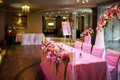 Celebratory tables in the banquet hall Stock Image