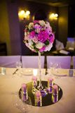 Celebratory tables decorated with flowers Royalty Free Stock Image