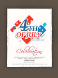 Celebrazione americana di festa dell'indipendenza con testo alla moda Immagini Stock