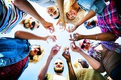 Celebrazione Champagne Looking Down Friends Concept Fotografia Stock Libera da Diritti