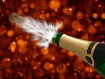 Celebrazione con champagne sul nuovo anno partito-felice Fotografia Stock