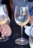 Celebrazione con i vetri di vino bianco Fotografie Stock Libere da Diritti