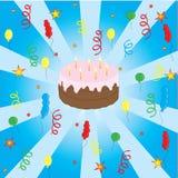 Celebrazione con la torta e gli aerostati Fotografie Stock Libere da Diritti