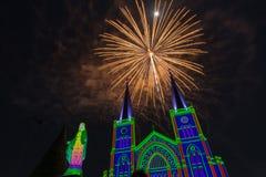 Celebrazione dei fuochi d'artificio con il Buon Natale Fotografie Stock Libere da Diritti