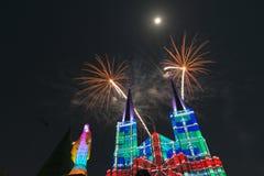 Celebrazione dei fuochi d'artificio con il Buon Natale Fotografia Stock