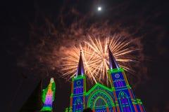 Celebrazione dei fuochi d'artificio con il Buon Natale Immagini Stock