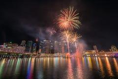 Celebrazione dei fuochi d'artificio in Darling Harbour Immagini Stock Libere da Diritti