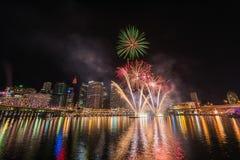 Celebrazione dei fuochi d'artificio in Darling Harbour Fotografia Stock Libera da Diritti