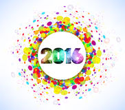 Celebrazione 2016 del buon anno con il fondo variopinto del modello dei coriandoli Fotografia Stock
