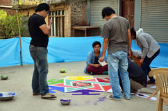Celebrazione del festival di Tihar Deepawali al mercato thamal Fotografie Stock